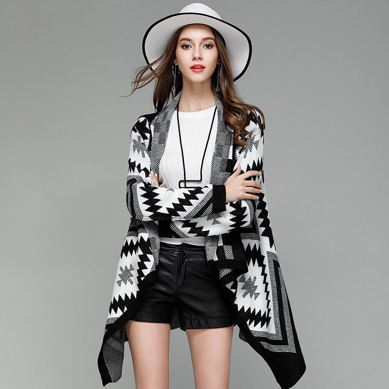 跨境亚马逊秋冬新款女式针织开衫翻速卖通领不规则中长款毛衣外套