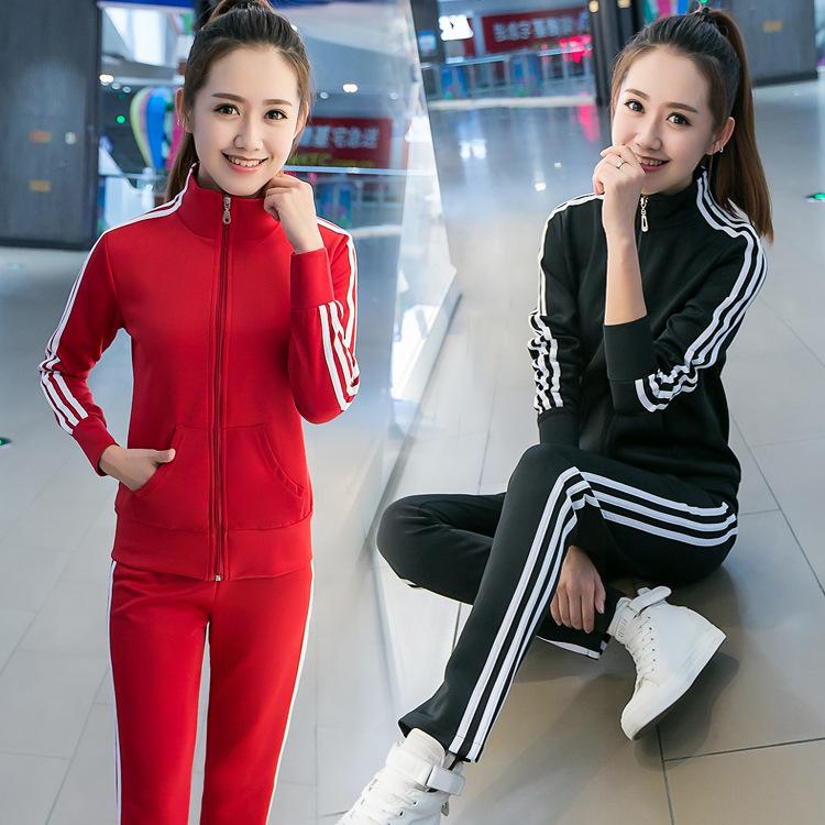 韩版实拍三条杠运动套装女春秋季潮时尚休闲跑步长袖服修身两件套
