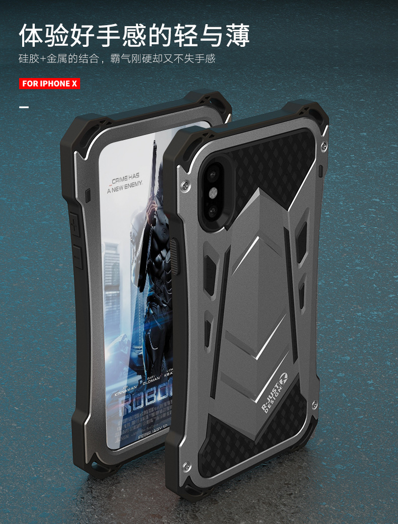R-Just Armor Ghost Warrior IP54 Waterproof Case Extreme Protection System for Apple iPhone X