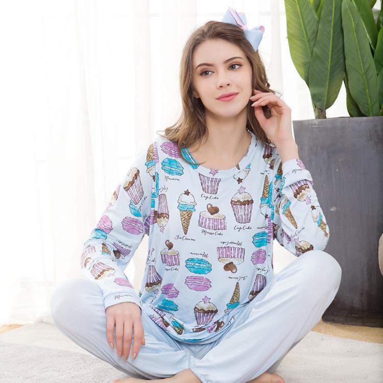 2019春季新款莫代尔哺乳家居套装 孕妇装圆领月子服 两件套定做