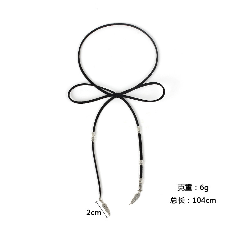 Punk style Exaggerated Multilayer Leaf Pendant Bandage Bohemian style Retro Coin Neckband NHRN259960