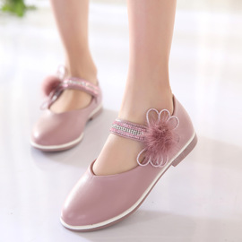 Spring children's shoes new fashion girls shoes bows water mink children's princess shoes single shoes