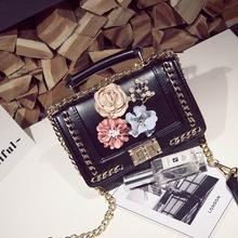 2019新款时尚韩版花朵菱格链条包单肩斜跨女包 厂家直销一件代销
