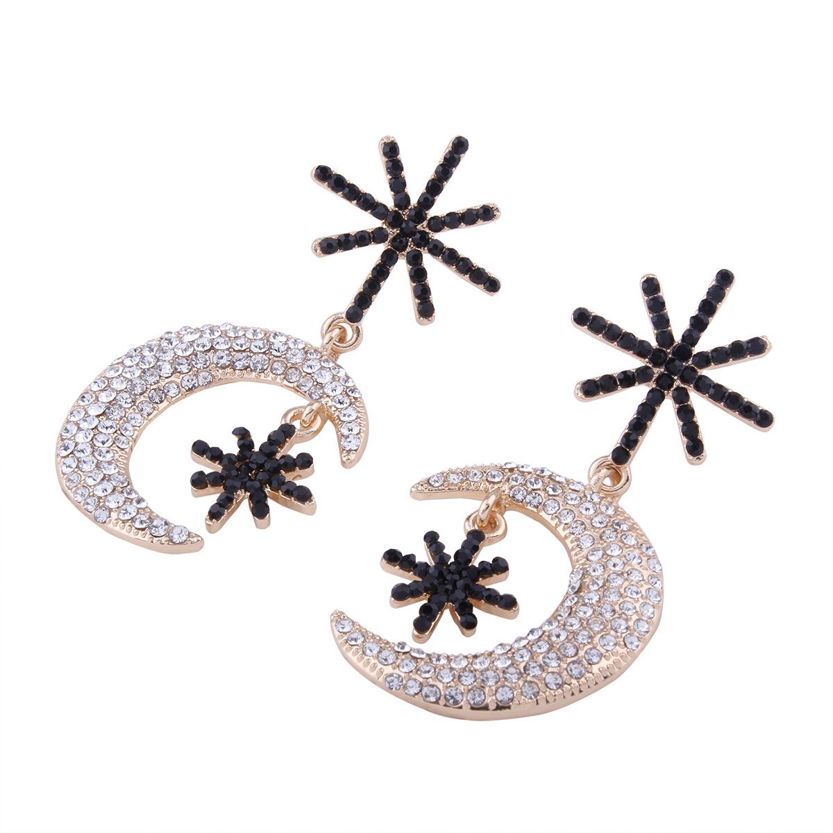 Simple alloy Diamond earring (Black k gold)NHNMD3809-Black k gold