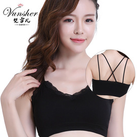 Explosion models spring and summer new lace straps sports bra no steel ring gathered sports bra