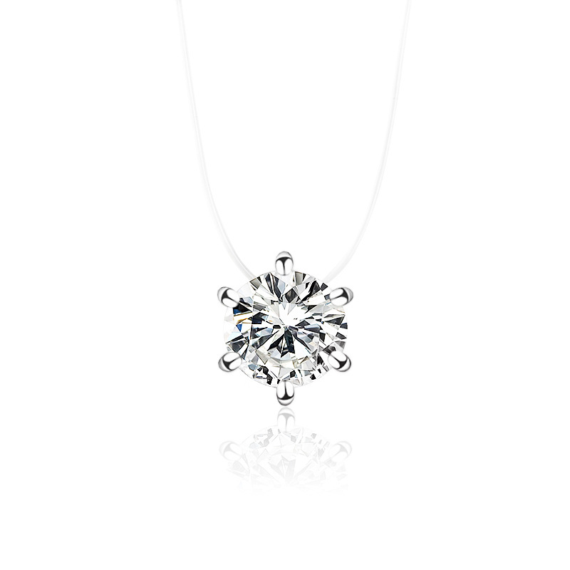 Necklace Wholesale Multi-Prong Diamond Zircon Pendant Necklace Short Fishline Clavicle Chain NHDP203072