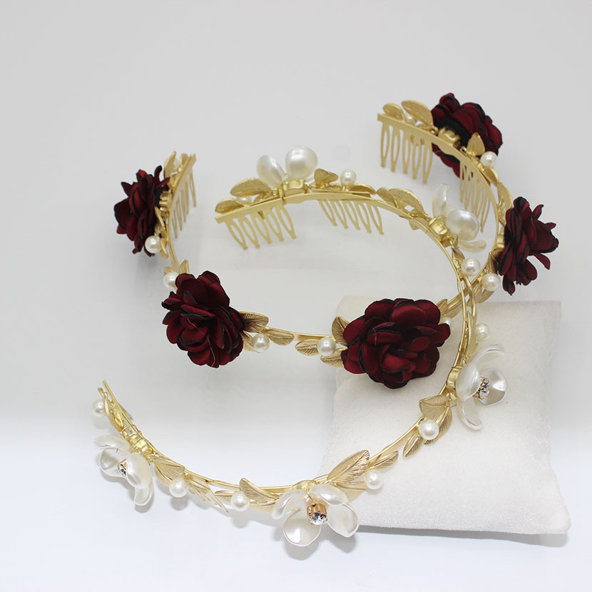 New Golden Leaf Showway Roses and Pearls Headband Hair Accessories NHWJ179773