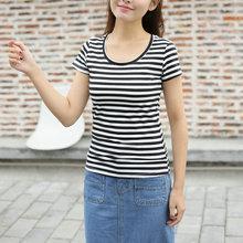 短袖t恤女黑白条纹圆领上衣修身韩版百搭体恤打底衫棉质001T