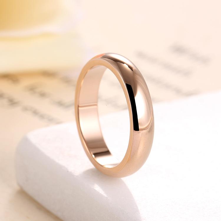 新品不锈钢简约4mm宽版光面戒指 玫瑰金钛钢情侣对戒一件代发j11