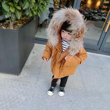 兒童真毛領手塞棉衣冬款童裝男女童純色棉襖中小童加厚連帽棉外套