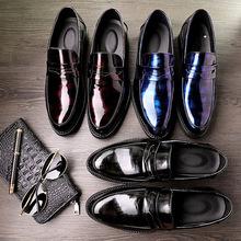 春季新款男士潮流皮鞋男单鞋商务套脚懒人鞋亮皮微商一件代发皮鞋