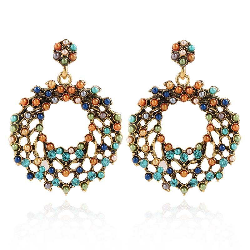 Explosion jewelry Europe and America retro pendant earrings ladies hollow colorful pearl earrings wholesales fashion NHKQ179044