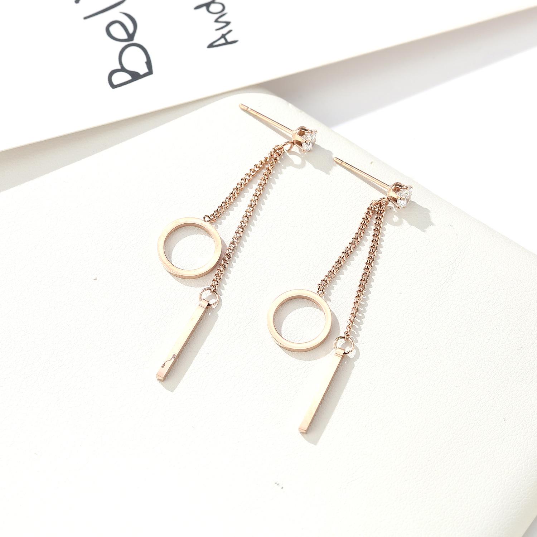 folk-custom metal plating Titanium steel earrings (Rose gold pair)NHIM0968-Rose gold pair