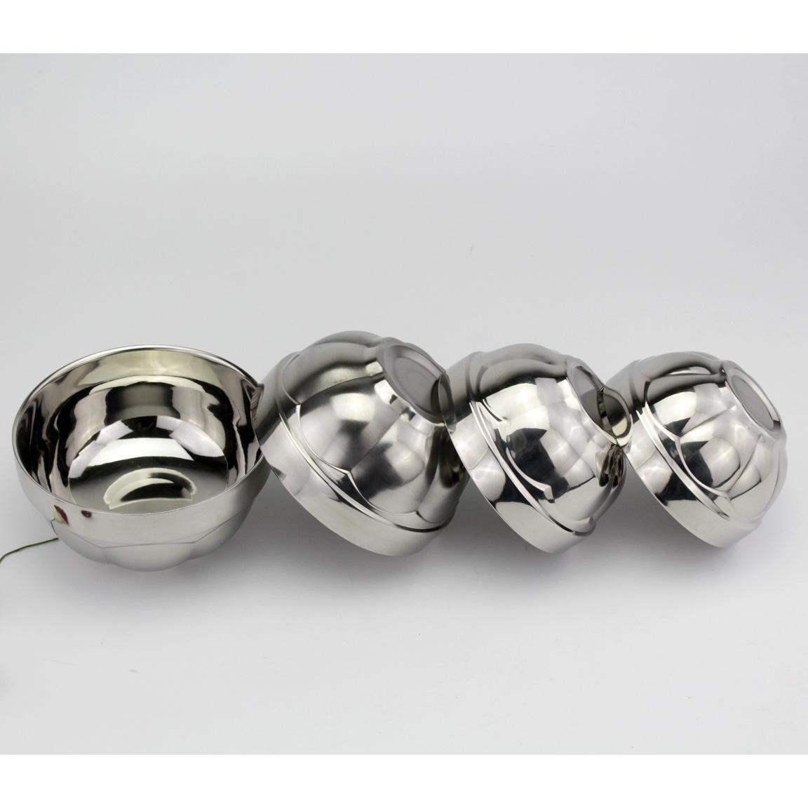 无磁不锈钢双层防烫荷花碗 11.5CM-16Cm双层韩式新款饭碗
