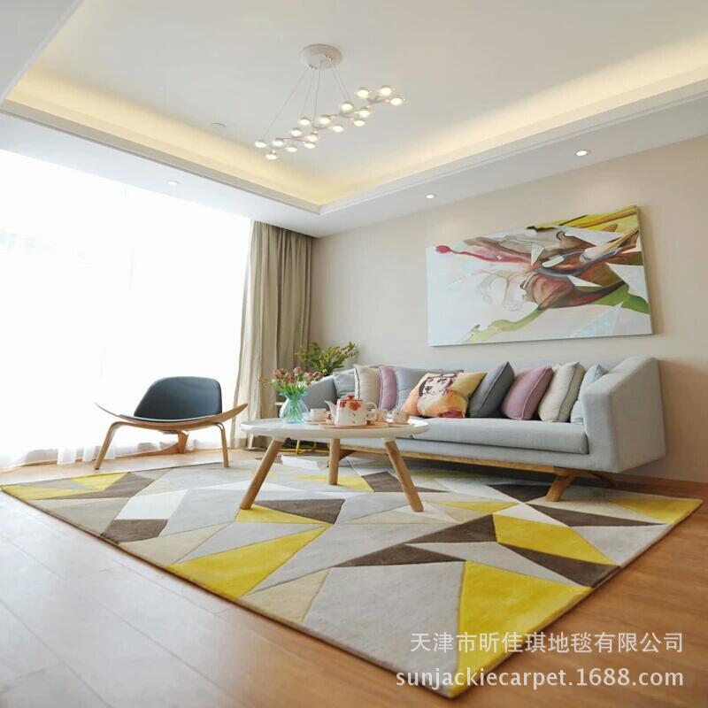 客厅地毯定制订做家具家居卧室茶几沙发手工枪刺腈纶样板间地毯