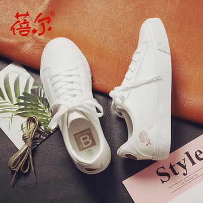 蓓尔新款帆布鞋女韩版学生皮面休闲鞋尚百搭白色学生板鞋厂家直供