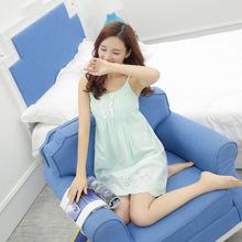 一件代发2018夏季女士性感睡裙全棉提花舒适带胸垫吊带睡衣家居服