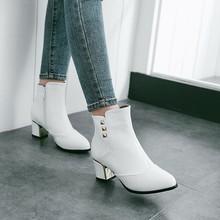 2017秋冬粗高跟短靴拼接鉚釘裝飾馬丁靴歐美潮流