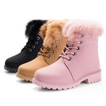 跨境专供2017冬加绒加厚马丁靴女童靴兔毛防滑雪地靴休闲棉鞋男童