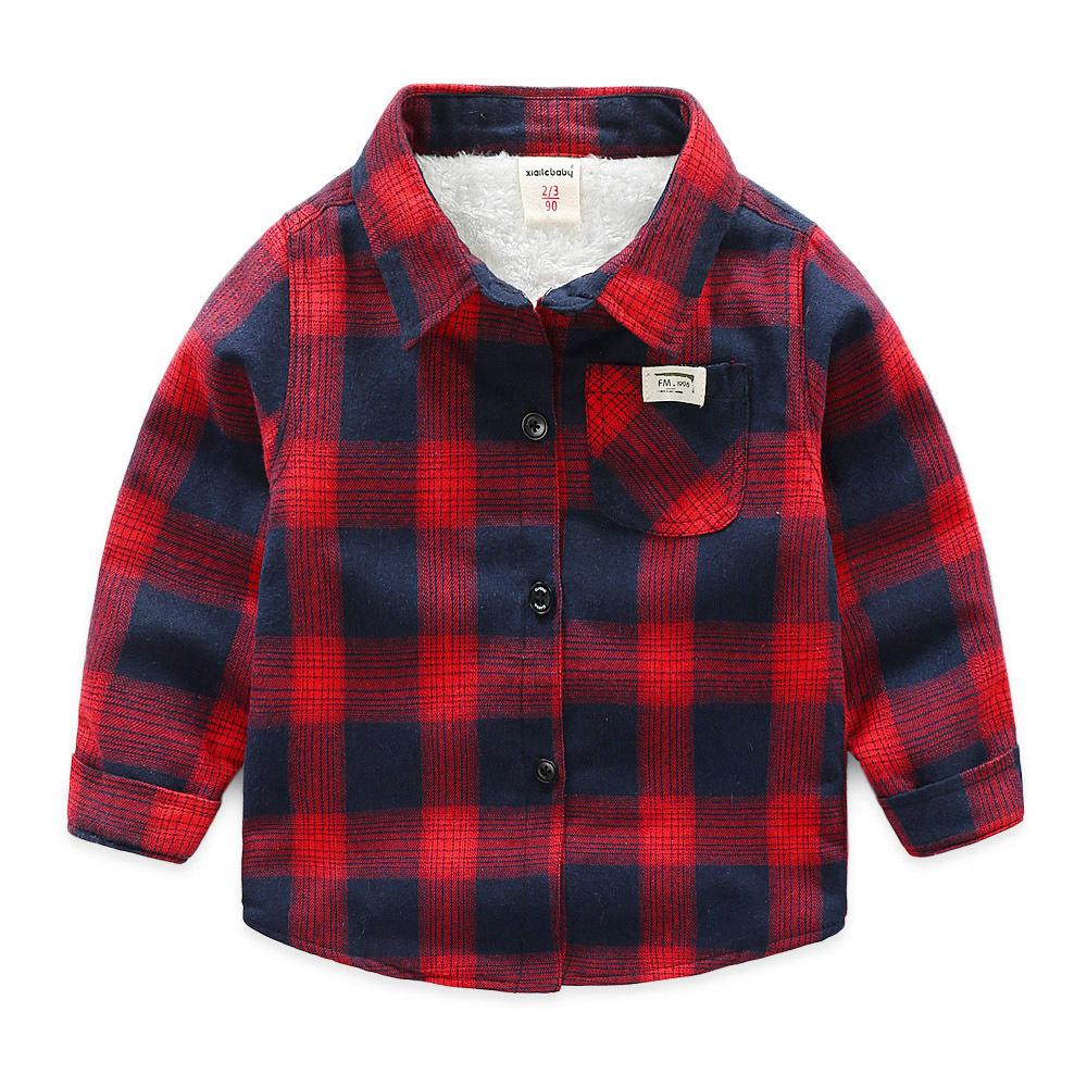 童装2020冬装男童加绒衬衫儿童格子长袖加厚衬衣中小童休闲衬衫潮
