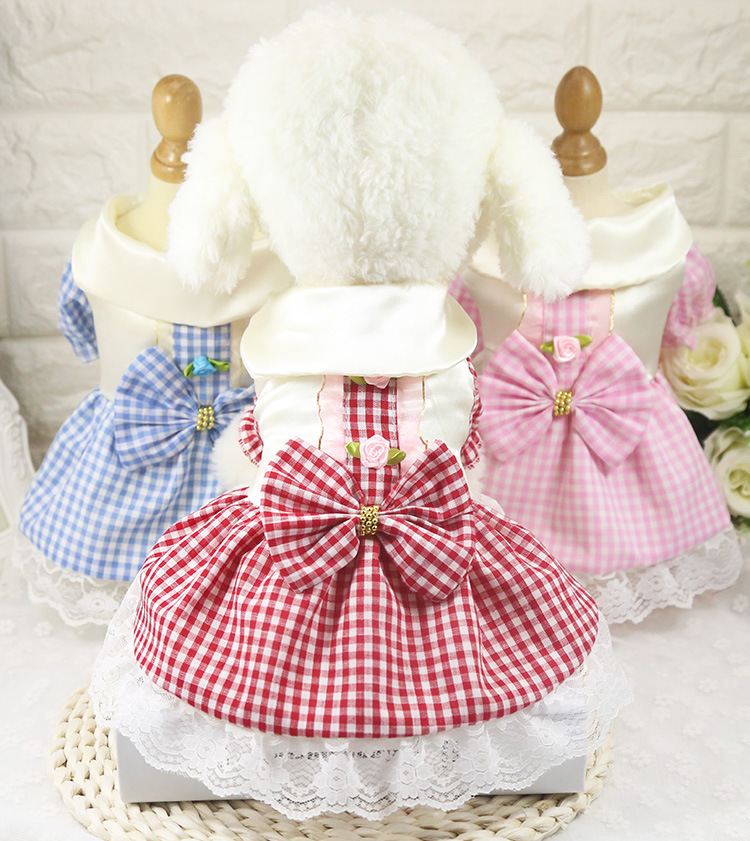 a1864e43070c5 Spring and Summer New Dog Pet Cat Dress Plaid Skirt