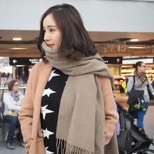 2017秋冬新款羊羔绒围巾韩国纯色仿羊绒围巾保暖披肩厂家批发