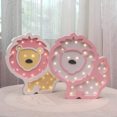 狮子LED小夜灯手工定制的儿童卧室台灯北欧摆件壁饰壁挂ins