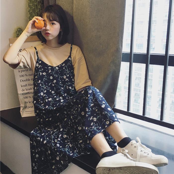 夏季女装韩版甜美小清新吊带裙中长款碎花雪纺连衣裙宽松过膝裙子