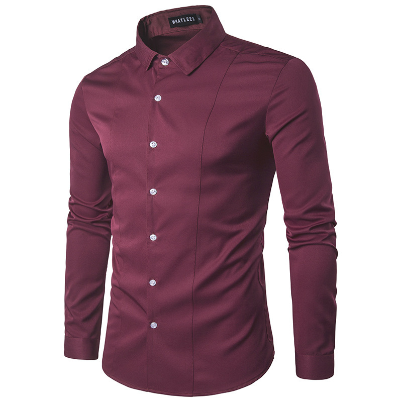 Fast selling wishi men's solid color slim fitting long sleeve shirt good quality large men's candy shirt