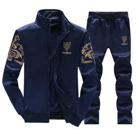 2019春秋新款男士盾牌长袖运动套装中学生连帽拉链卫衣男立领外套