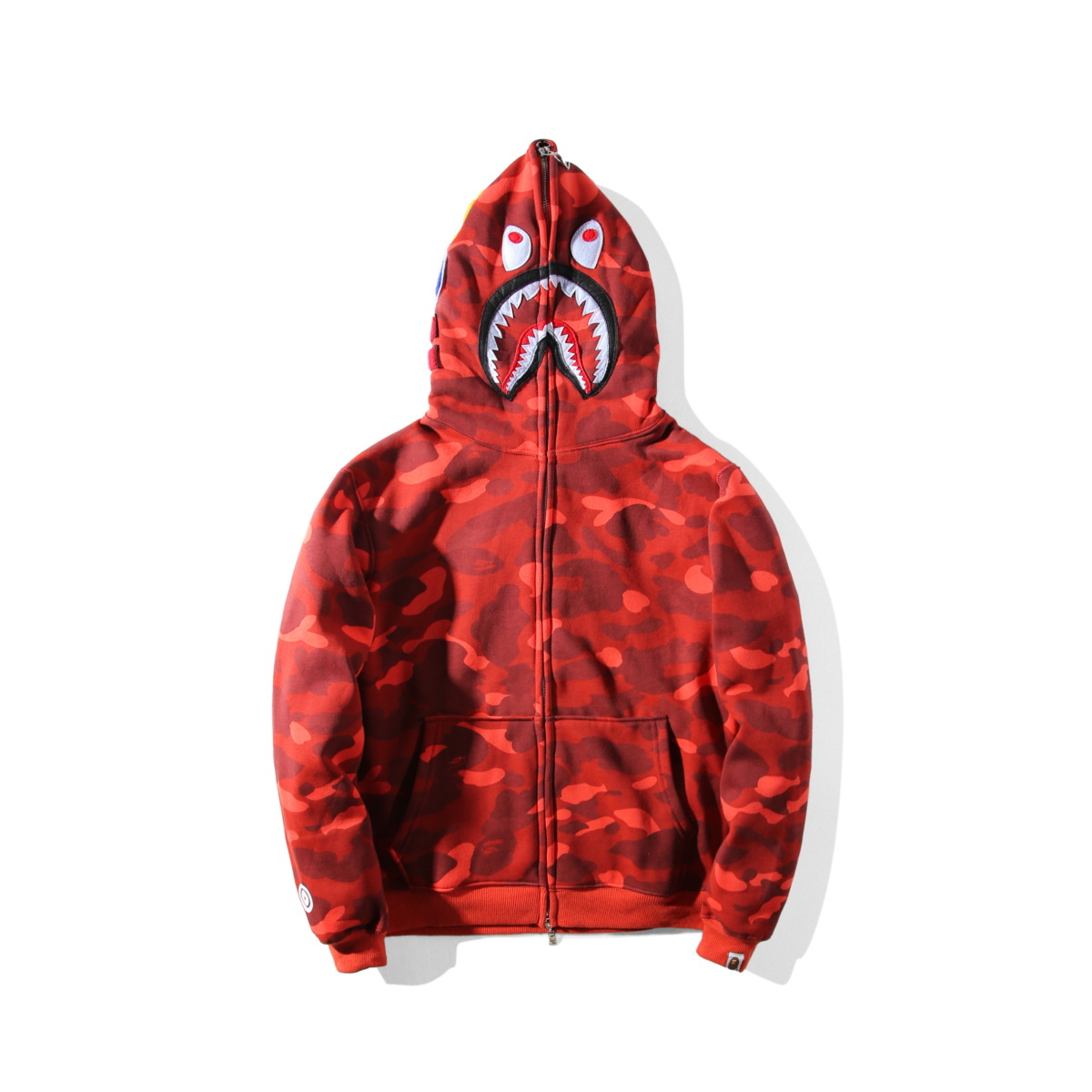 600de3ede4b7 Details about  Bape A Bathing Ape Full Zipper Shark Jaw Red Camo Hoodie  Sweatshirt Coat Jacket