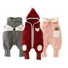 一件代发婴儿连体衣秋冬加厚无袖宝宝外出服冬季纯棉新生儿衣服装