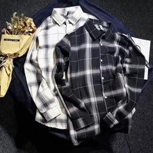 春秋季新款韩版男士格子衬衣韩版青少年宽松长袖情侣衬衫一件代发
