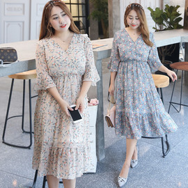 spring and summer fat sister plus fat super large size women's summer new floral dresses   0672