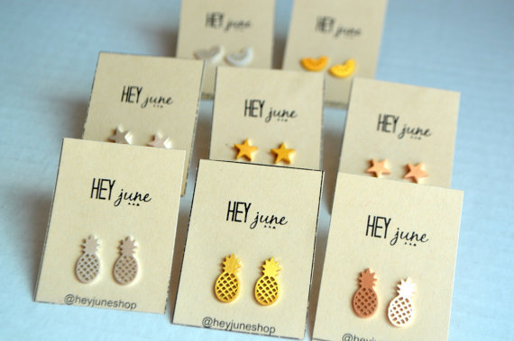 Fashion hollow brushed pineapple alloy plating stud earrings NHCU149831
