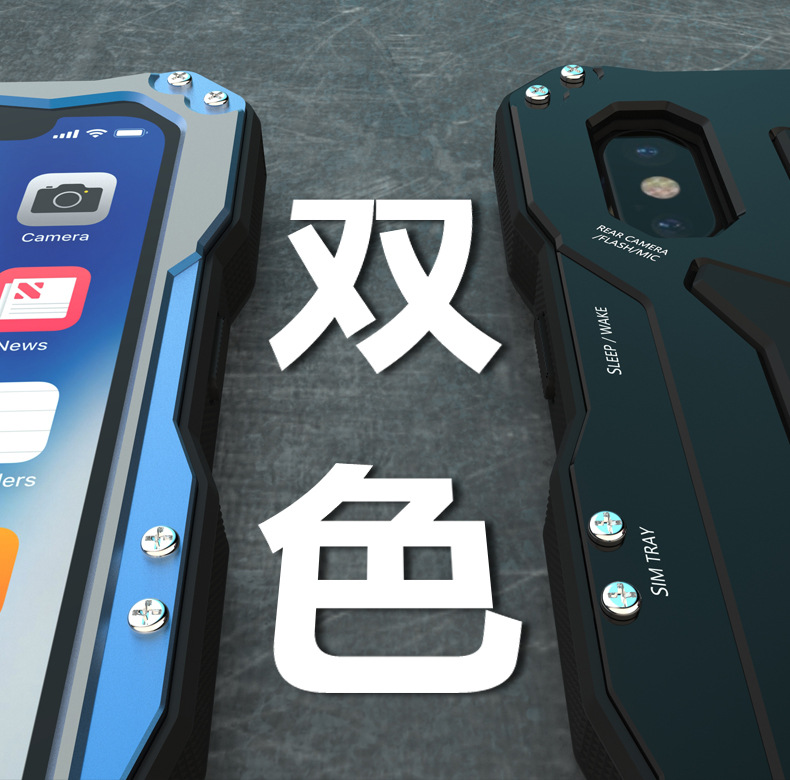 R-Just Gundam Water-resistant Shockproof Dirt-proof Snow-proof Premium Armor Heavy Duty Metal Protective Case Cover for Apple iPhone X