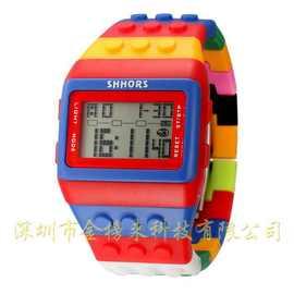 微商 七彩虹色积木表LED 电子手表 夜光兒童手表 塑料男士手表