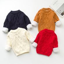2017兒童新款加絨童毛衣男童圓領純色套頭打底衫童裝百搭針織毛衣