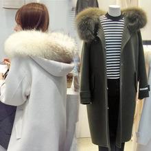 芙奈 2019春秋新款连帽女式呢料大衣 中长款修身大毛领女式外套