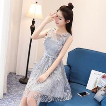 女装新款时尚无袖蕾丝连衣裙夏修身显瘦韩版小清新背心裙