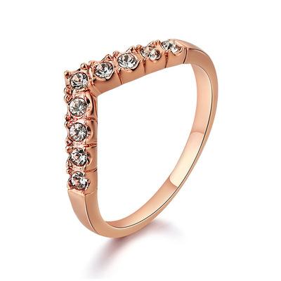 韩版创意新款手饰 精美镶钻V形戒指 高档饰品厂家正品货源110496
