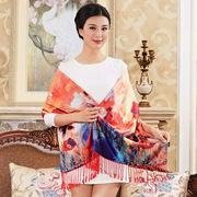 杭州丝巾围巾女长款秋冬季加厚双面双层仿真丝拉绒围巾披肩旗袍