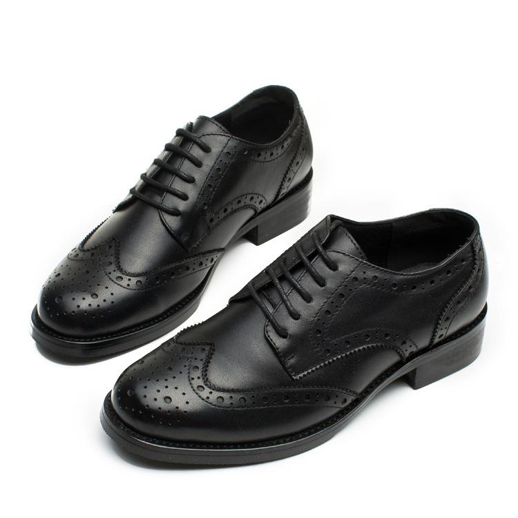 英伦风布洛克小皮鞋女系带复古平底粗跟真皮单鞋女牛津鞋女工装鞋