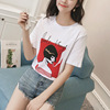 Real summer 2017 Korean all-match loose fashion T-shirt printing female student clothes shirt explosion