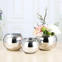 现代电镀银色金色圆球小玻璃球制品工艺品简约水培玻璃花瓶批发