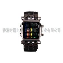 新款二进制螃蟹LED防水电子手表PU表带合金表壳非触摸屏闪灯表