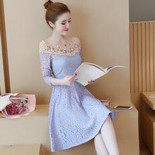 实拍2018春秋季新款女装长袖蕾丝连衣裙时尚显瘦一字肩荷叶裙