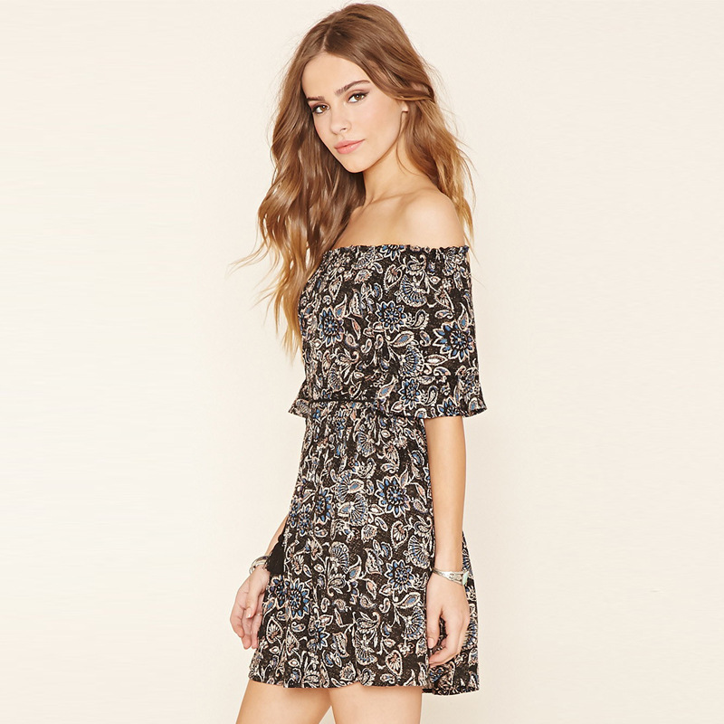 category/Clothes/Floral Off Shoulder Short Dress