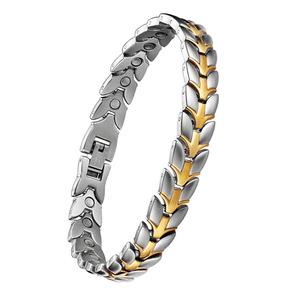 闺蜜手链女款钛钢手链不锈钢精钢磁石保健手链锗石四合一手链现货