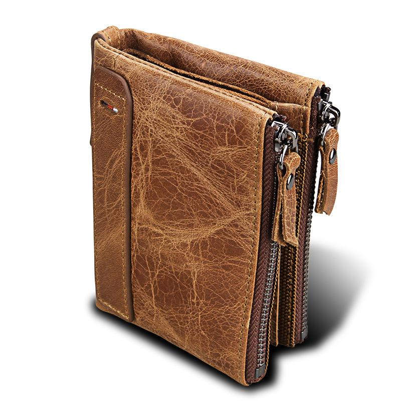 疯马牛皮男士钱包真皮短款防RFID盗刷男士钱包双拉链钱夹外贸爆款